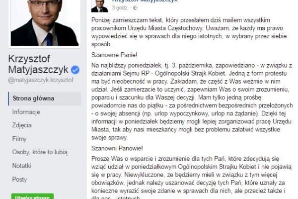Częstochowianki dumne z oświadczenia Prezydenta Krzysztofa Matyjaszyczka