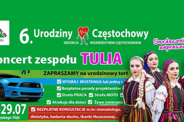 """,,Urodziny Zdrowej Częstochowy"""" już w ten weekend! Na placu Biegańskiego zagra zespół TULIA"""
